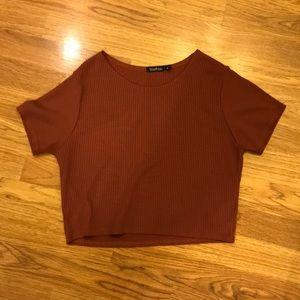 Boohoo Cropped Ribbed T-shirt